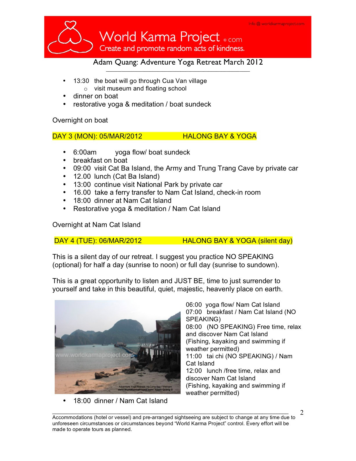 2-Adventure yoga retreat - Halong bay Tour itinerary -Mar_3-17_2012 -Edit JC
