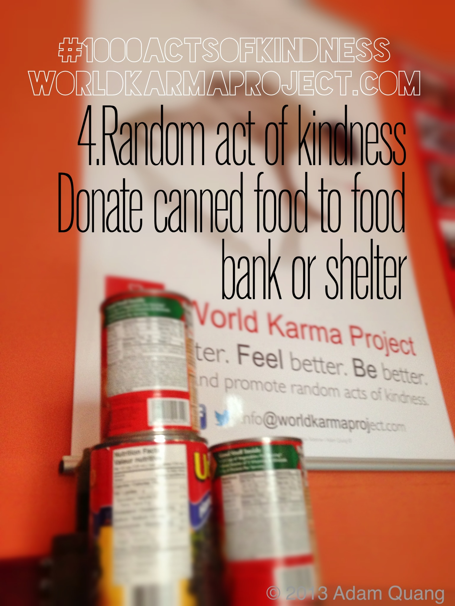 4 Donate canned food to food bank or shelter #1000ActsofKindness