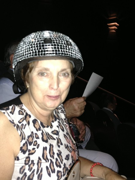 At tiff meet Jean Ann with my DiscoHelmet DoFeelBe #connect happiness 1000ActsofKindness 2013-09-15 15.43.17