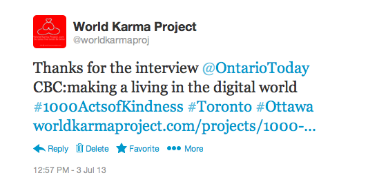 "CBC – Ontario Today ""Entrepreneurs in the wired world"" 1000ActsofKindness July 3, 2013"